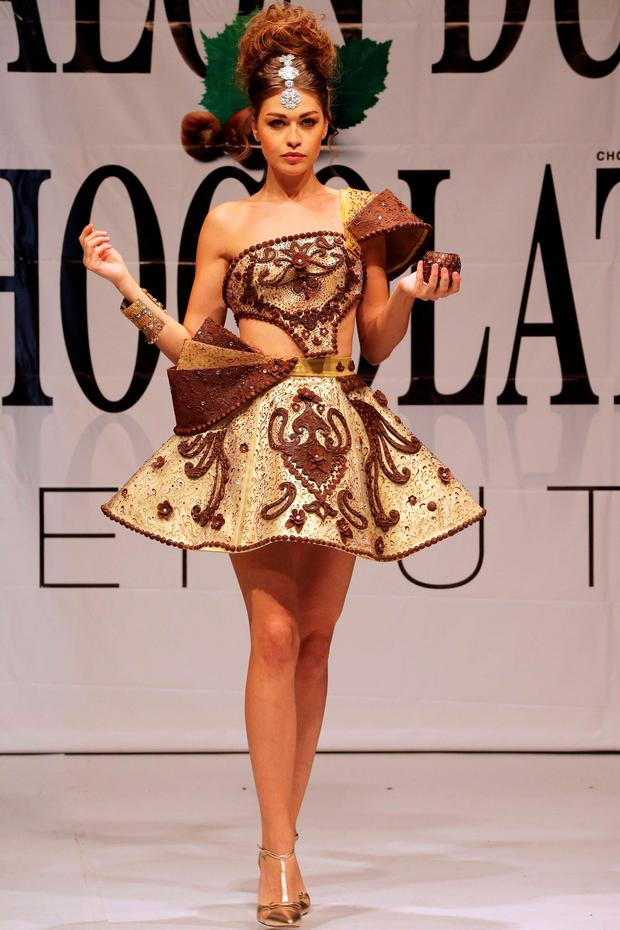 A model displays a dress made out of chocolate during a fashion show with chocolate dresses on the occasion of Beirut Cooking Festival on November 12, 2015 in the Lebanese capital. AFP PHOTO/JOSEPH EIDJOSEPH EID/AFP/Getty Images