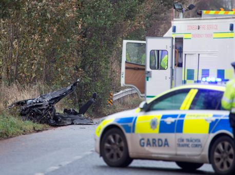 The tragic scene where two people lost their lives in a traffic accident on the main Derry to Letterkenny road. (North West Newspix)
