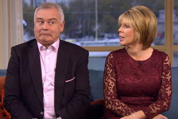 Eamonn Homes reacts to Ruth's near slip up Credit: Twitter/Lee Levy