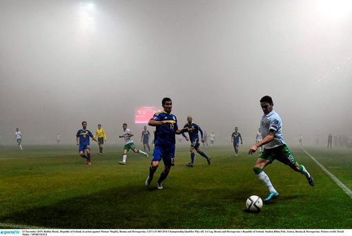 Robbie Brady in action against Mensur Mujdža. Picture credit: David Maher / SPORTSFILE
