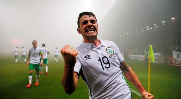 Robbie Brady celebrates after scoring the first goal for Republic of Ireland Action Images via Reuters / Jason Cairnduff Livepic