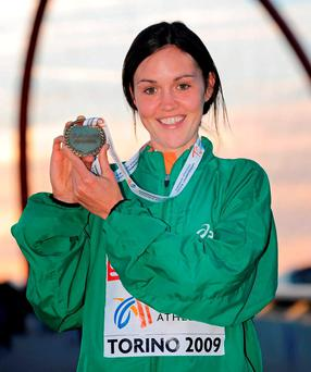 Ireland's Mary Cullen with the bronze medal she won in the Women's 3000m