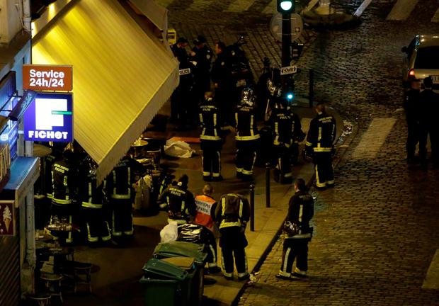 Police are seen outside a cafe-restaurant in 10th arrondissement of the French capital Paris. Photo: AFP/Getty Images
