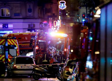 Police are seen outside a cafe in 10th arrondissement of the French capital Paris. Photo: AFP/Getty Images