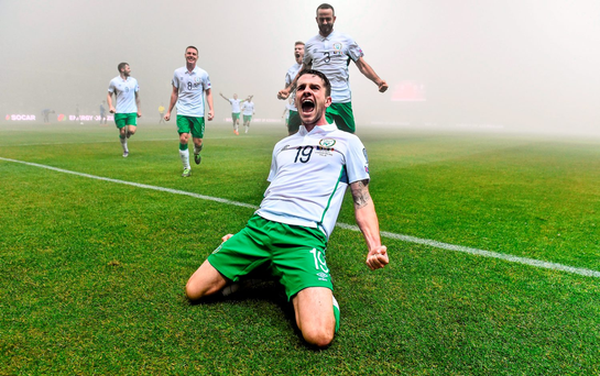 Robbie Brady celebrates after giving Ireland the lead in last night's Euro 2016 Championship play-off first leg against Bosnia & Herzegovina in Zenica