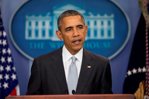 President Barack Obama speaks about attacks in Paris from the briefing room of the White House