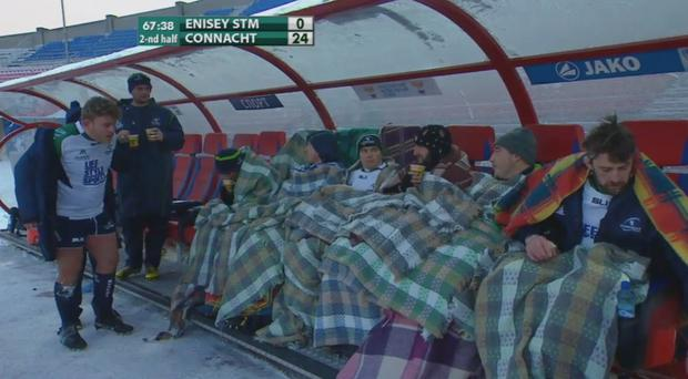 The Connacht bench tries to remain warm