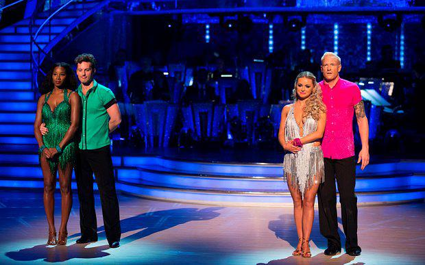 Jamelia, Tristan MacManus, Ola Jordan, Iwan Thomas. Iwan Thomas became the first celebrity to leave the show, following the results show of Strictly Come Dancing.