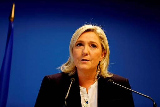 Leader of the French Far-right party the Front National (FN) Marine Le Pen delivers an address in Nanterre, suburban Paris on November 14, 2015, in response to the attacks in which at least 128 people were killed. Islamic State jihadists claimed a series of coordinated attacks by gunmen and suicide bombers in Paris that killed at least 128 people in scenes of carnage at a concert hall, restaurants and the national stadium. AFP PHOTO / FRANCOIS GUILLOTFRANCOIS GUILLOT/AFP/Getty Images