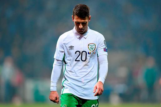 Wes Hoolahan, Republic of Ireland. UEFA EURO 2016 Championship Qualifier Play-off, 1st Leg, Bosnia and Herzegovina v Republic of Ireland. Stadion Bilino Pole, Zenica, Bosnia and Herzegovina. Picture credit: Stephen McCarthy / SPORTSFILE