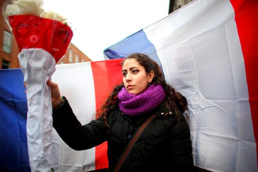 Sonia Leon pictured at the Solidarity with Paris march through Dublin city centre. Picture; GERRY MOONEY. 14/11/15