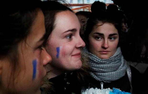 French students in Galway join a vigil in solidarity with the French people in Paris. Picture: Hany Marzouk
