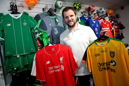 Donegal footballer Michael Murphy in his sports shop in Letterkenny, Co. Donegal