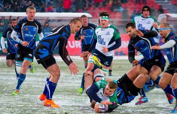 Connacht's Peter Robb is tackled during the European Rugby Challenge Cupmatch against Enisei-STM