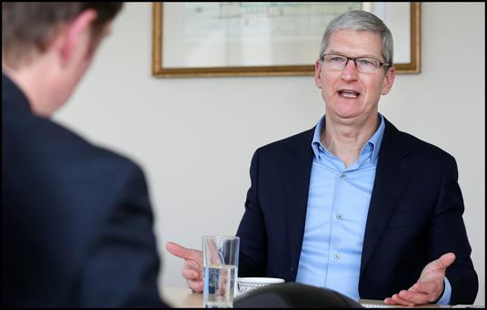 Tim Cook CEO Apple Inc. who paid a visit to Independent News and Media's offices on Talbot Street is interviewed by Adrian Weckler. Pic Steve Humphreys
