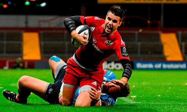 Conor Murray, Munster, is tackled by Rupert Harden, Benetton Treviso. European Rugby Champions Cup, Pool 4, Round 1, Munster v Benetton Treviso. Thomond Park, Limerick. Picture credit: Diarmuid Greene / SPORTSFILE