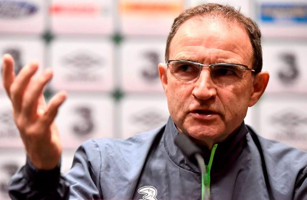 Republic of Ireland manager Martin O'Neill during a press conference. National Sports Campus, Abbotstown, Co. Dublin. Picture credit: David Maher / SPORTSFILE