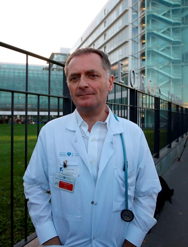 Professor Philippe Juvin outside the Hopital Europee Georges Pompidou in Paris. PRESS ASSOCIATION Photo. Issue date: Sunday November 15, 2015. See PA story POLICE Paris Hospital. Photo credit should read: Steve Parsons/PA Wire