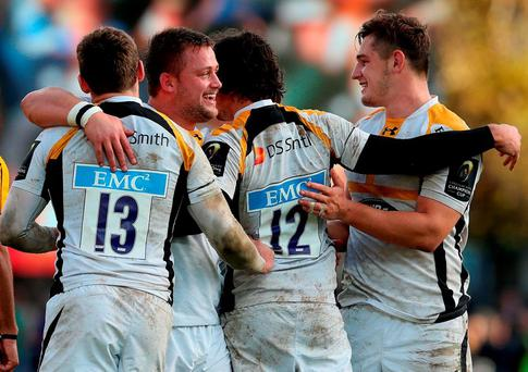 Wasps players celebrate in the final moments of the the European Champions Cup, pool five match at the RDS