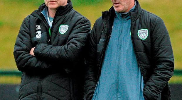 Martin O'Neill and Roy Keane keep a watchful eye on the players at training