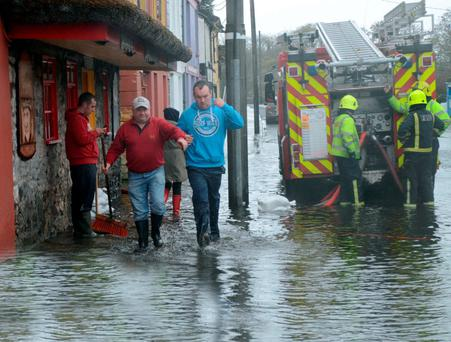 Flooding in Crossmolina, Co Mayo, after the Deel river burst its banks
