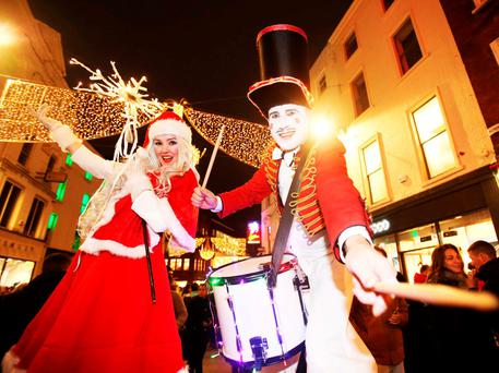 Thousands gathered to watch the Grafton Street Christmas lights turned on