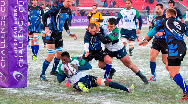 Connacht's Niyi Adeolokun scores his side's try against Enisei-STM in Russia Russia