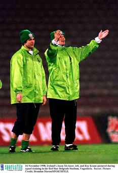 Ireland's Jason McAteer, left, and Roy Keane pictured in 1998