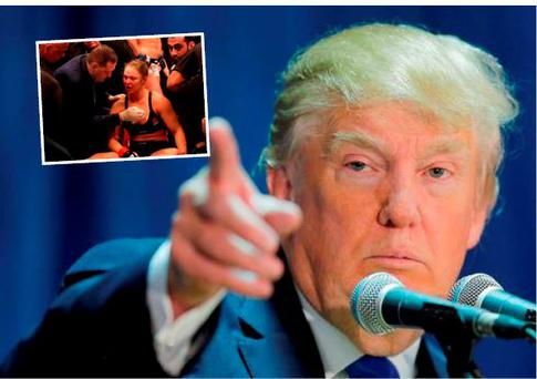 Donald Trump says he is glad Ronda Rousey (inset)) was beaten