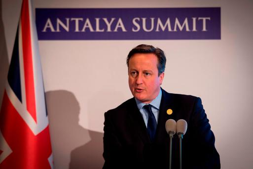 Prime Minister David Cameron holds a news conference during the G20 Summit of world leaders at Antalya in Turkey. Photo: Stefan Rousseau/PA Wire