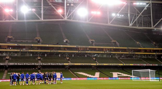 A general view during Bosnia and Herzegovina squad training. Aviva Stadium, Lansdowne Road, Dublin. Picture credit: David Maher / SPORTSFILE
