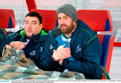 Connacht's Denis Buckley, left, and Aly Muldowney attempt to keep warm on the team bench. European Rugby Challenge Cup, Pool 1, Round 1, Enisei-STM v Connacht Rugby. Central Stadium, Krasnoyarsk, Russia. Picture credit: Denis Prikhodko / SPORTSFILE