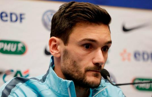 France's Hugo Lloris during the press conference ahead of tomorrow's friendly at Wembley Action Images via Reuters / Henry Browne