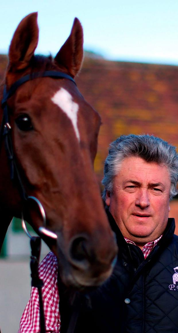 Trainer Paul Nicholls with Silviniaco Conti at Manor Farm Stables in Ditcheat, Somerset, yesterday