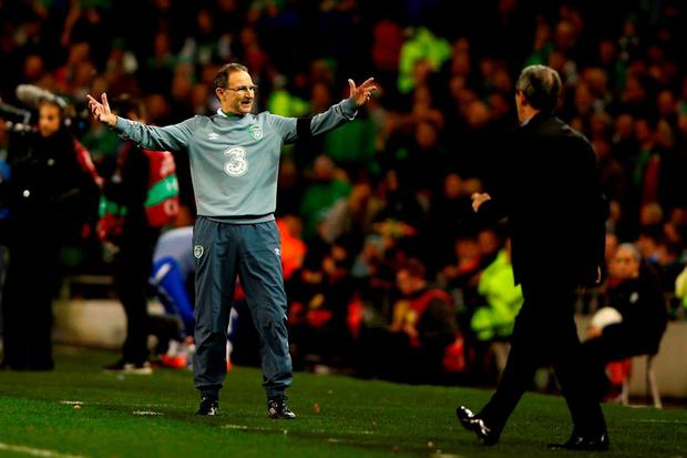 Martin O'Neill the manager of the Republic of Ireland reacts during the UEFA EURO 2016 Qualifier play off, second leg match
