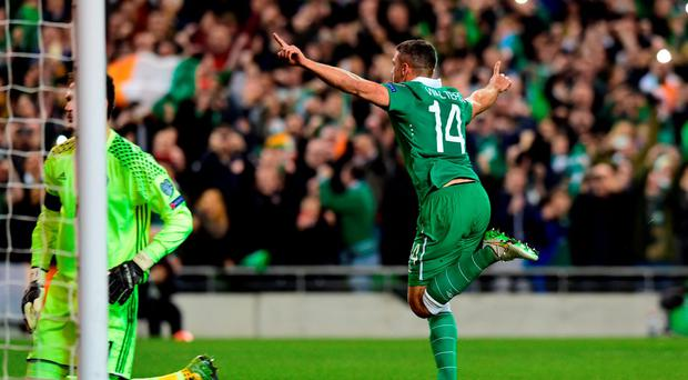 Jon Walters of Republic celebrates after scoring from the penalty spot