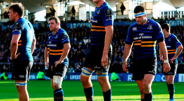 Jordi Murphy, Sean Cronin, Devin Toner and Fergus McFadden just before the final whistle of their stinging defeat