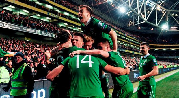 Republic of Ireland players celebrate during the Euro 2016 play-off victory over Bosnia