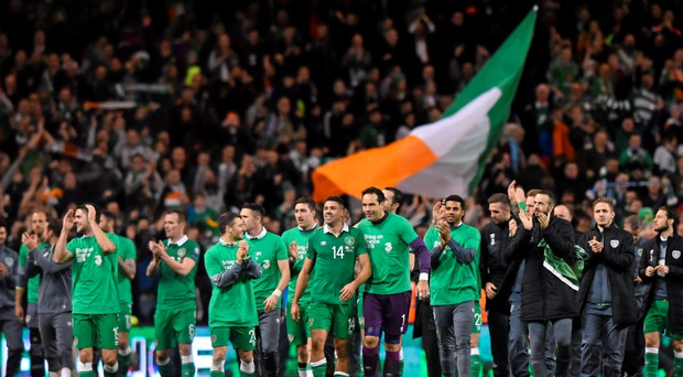 The Republic of Ireland players celebrate their side's victory, resulting in qualification for EURO 2016. UEFA EURO 2016 Championship Qualifier, Play-off, 2nd Leg,