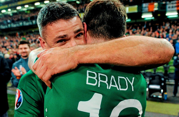 Republic of Ireland's Jonathan Walters and Robbie Brady embrace after the final whistle.