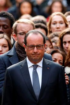 President Hollande during a minute of silence in the Sorbonne University in Paris