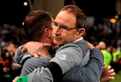 Republic of Ireland manager Martin O'Neill and assistant manager Roy Keane celebrate after the game. Picture credit: David Maher / SPORTSFILE