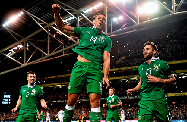 The Republic of Ireland's Jon Walters celebrates after scoring a penalty and his side's opening goal against Bosnia and Herzegovina in their Euro 2016 Championship qualifier, second leg play-off at the Aviva Stadium, Dublin
