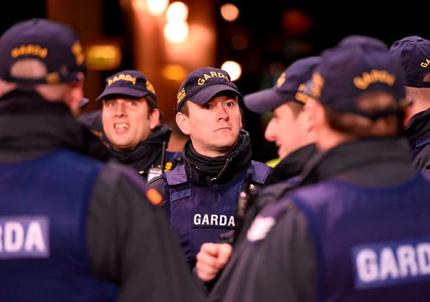 There was a significant garda presence at the match in the Aviva last night. Photo: Sportsfile
