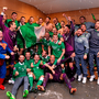 Ireland players celebrate in the dressing room after the game
