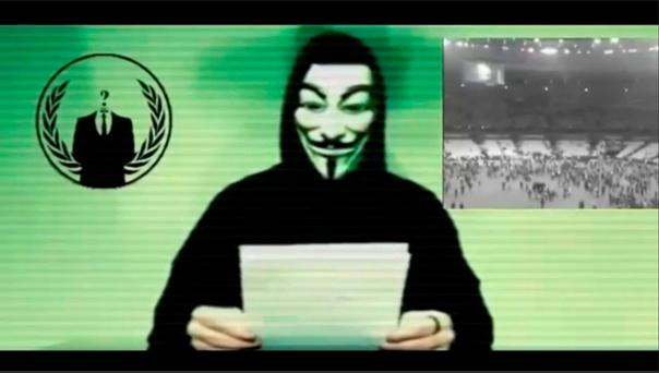 A man wearing a mask associated with Anonymous makes a statement in this still image from a video released on November 16, 2015. Reuters/Social Media Website via Reuters