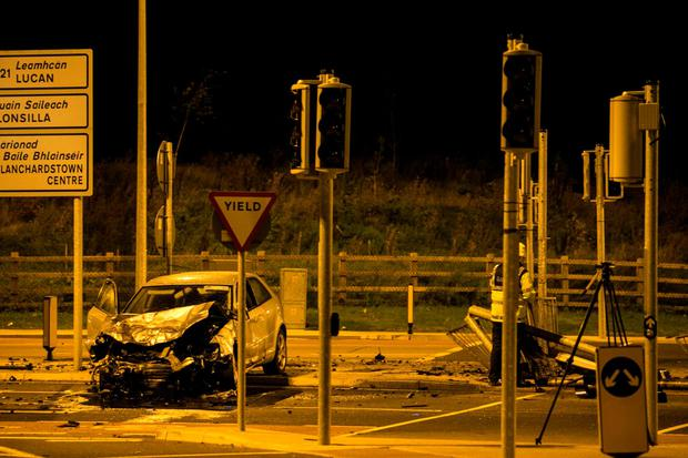 Scene of the fatal crash on the Junction 3 slip road near the Blanchardstown centre this morning