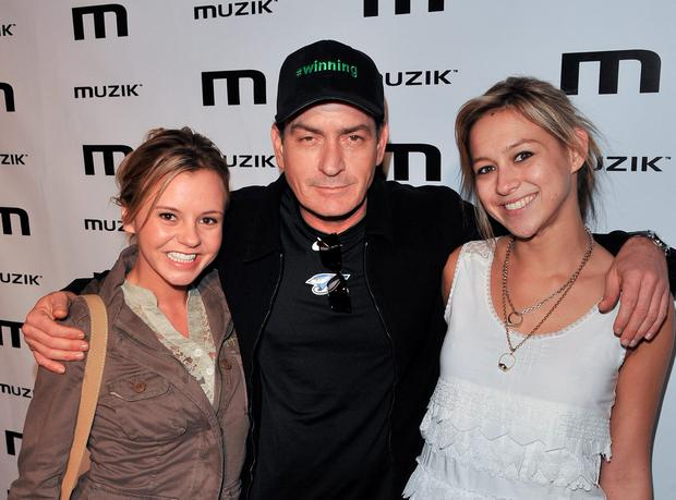 Bree Olson, Charlie Sheen and Natalie Kenly attend the official after-party for his