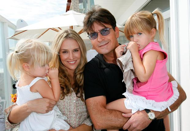 Lola Sheen, Actress Brooke Mueller, Actor Charlie Sheen and daughter Sam Sheen attend the French Connection's