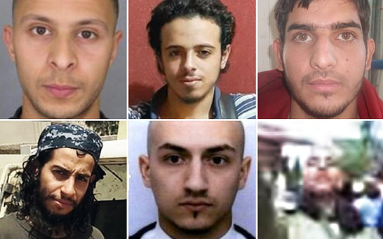 Paris terror suspects: (Clockwise from top left) Salah Abdeslam, Bilal Hadfi, Ahmad Almohamad, Omar Mostefai, Samy Amimour and Abdelhamid Abaaoud